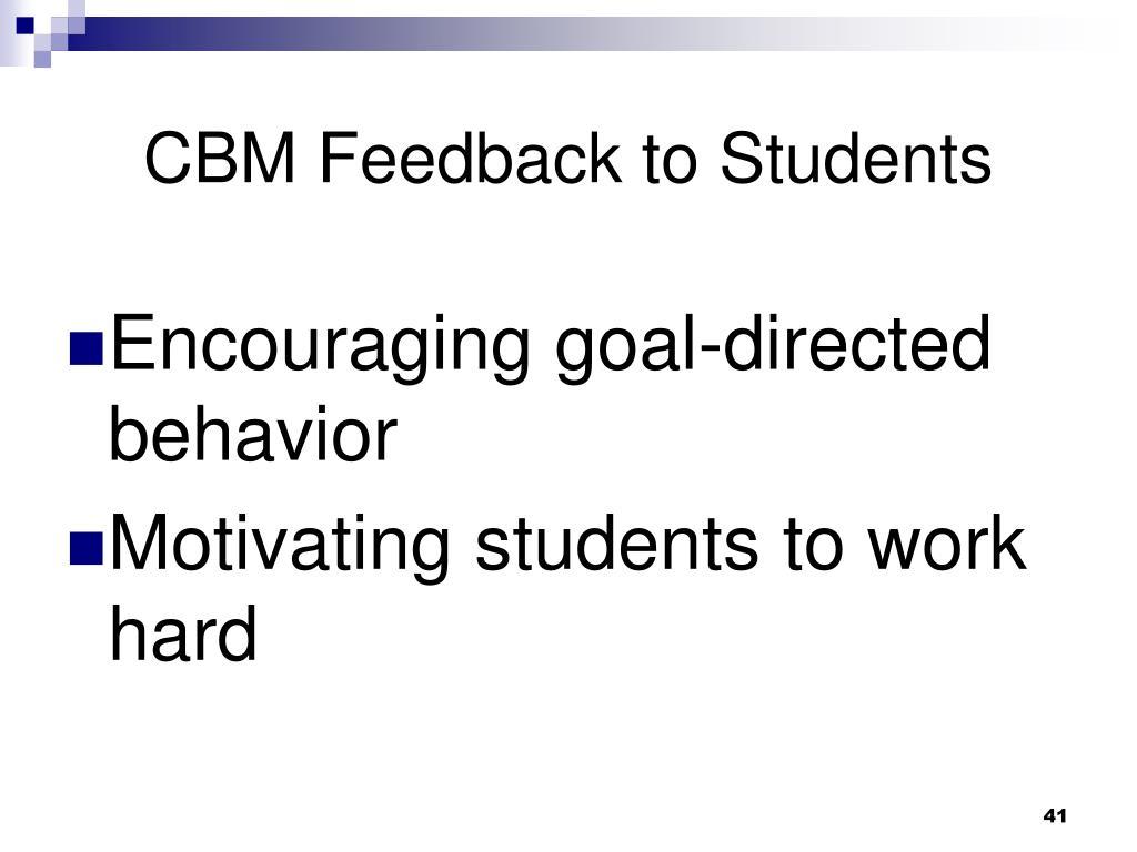 CBM Feedback to Students