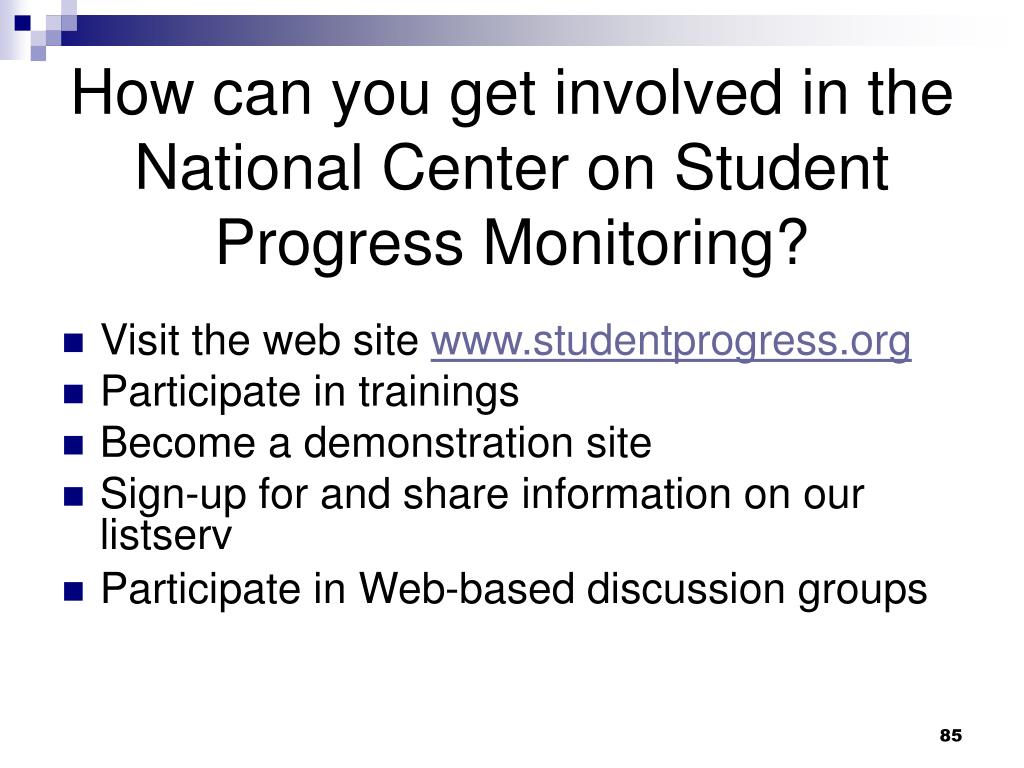How can you get involved in the National Center on Student Progress Monitoring?