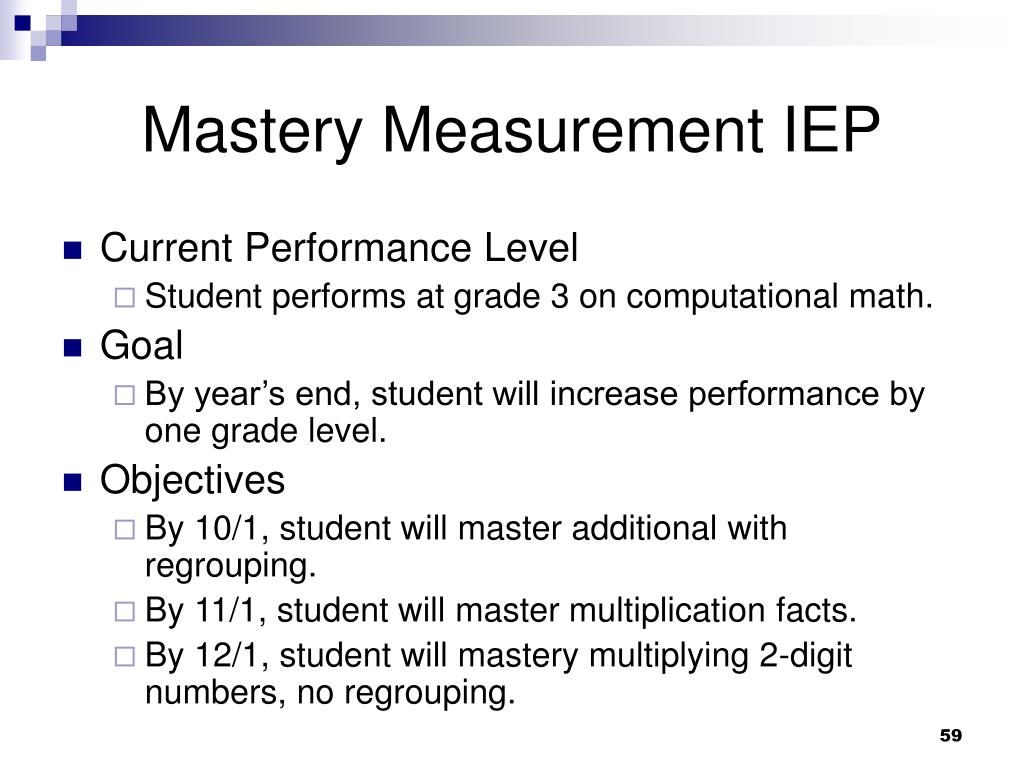 Mastery Measurement IEP