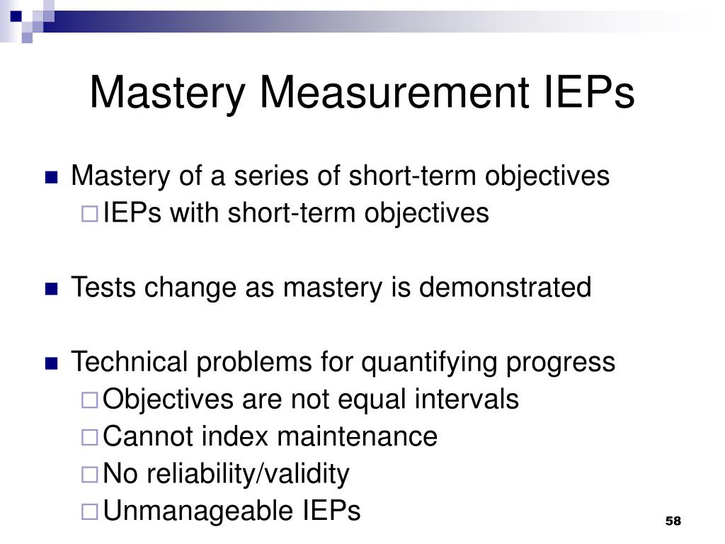 Mastery Measurement IEPs