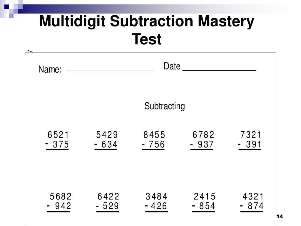 Multidigit Subtraction Mastery Test