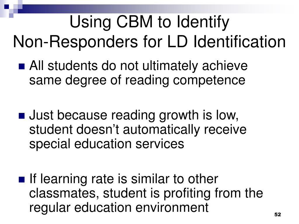 Using CBM to Identify