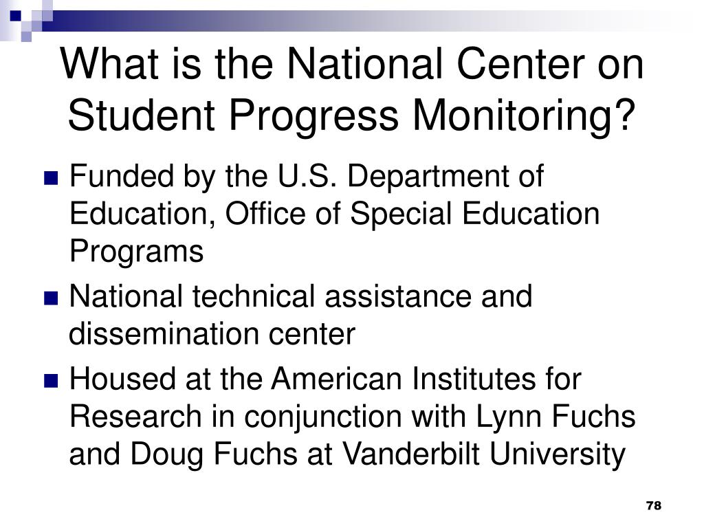 What is the National Center on Student Progress Monitoring?