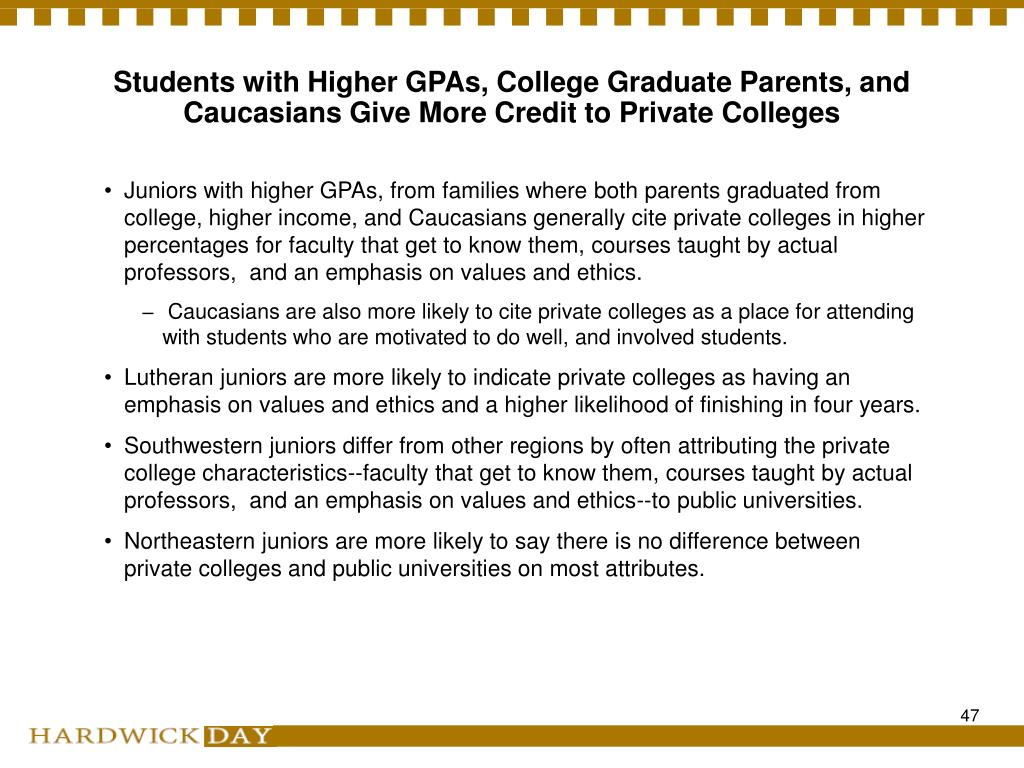 Students with Higher GPAs, College Graduate Parents, and Caucasians Give More Credit to Private Colleges