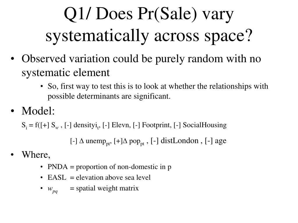 Q1/ Does Pr(Sale) vary systematically across space?