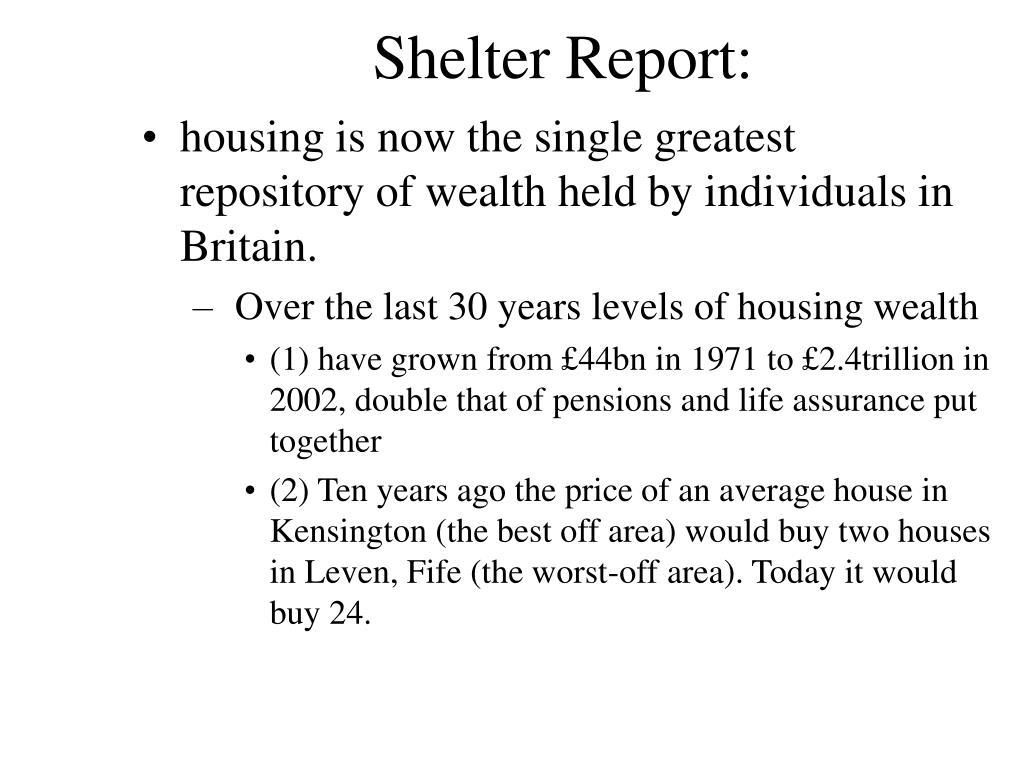 Shelter Report: