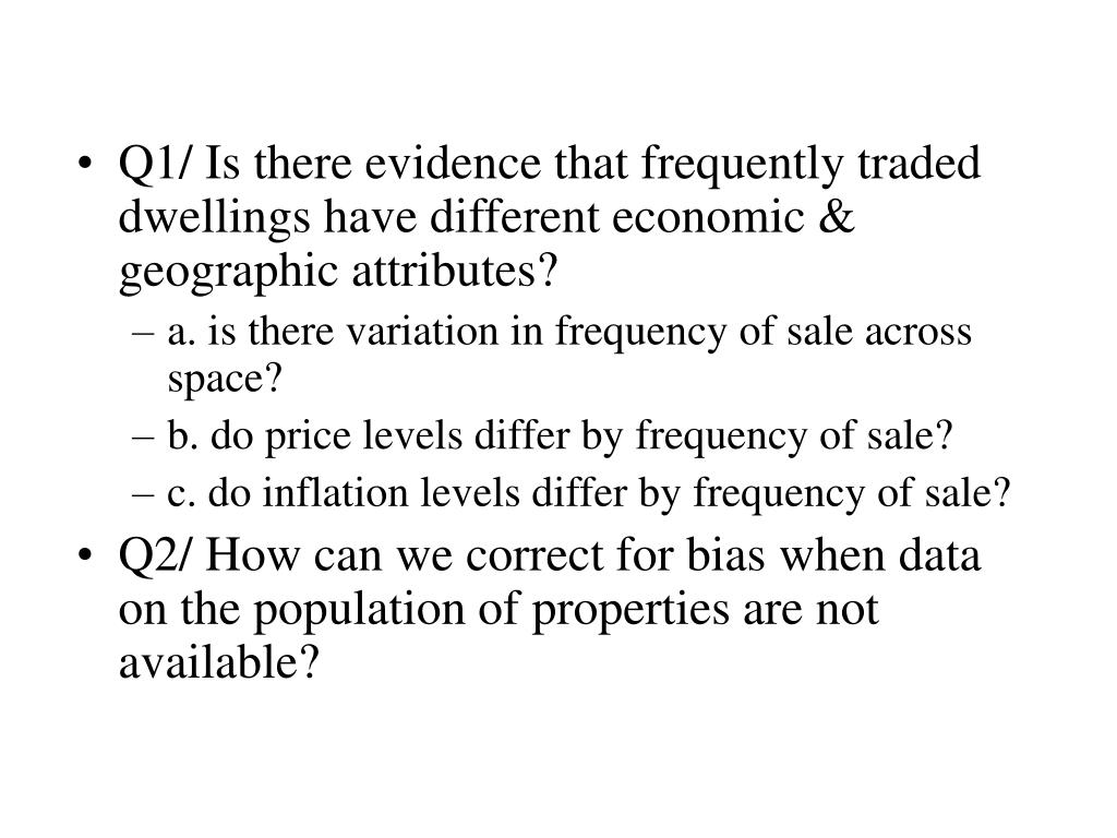 Q1/ Is there evidence that frequently traded dwellings have different economic & geographic attributes?
