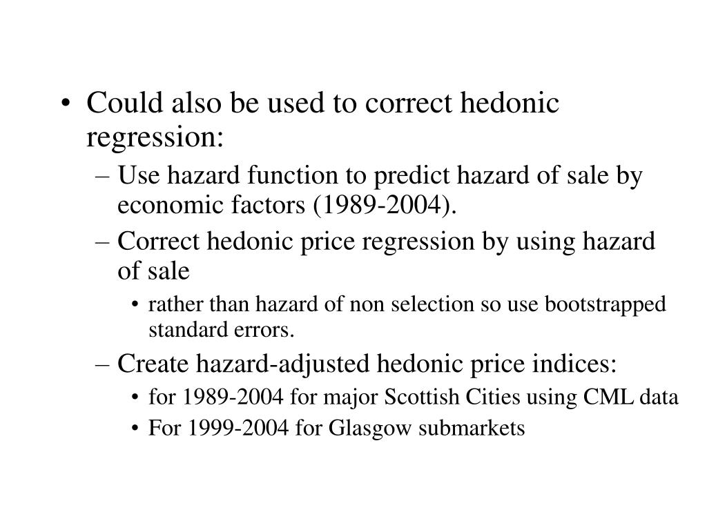 Could also be used to correct hedonic regression: