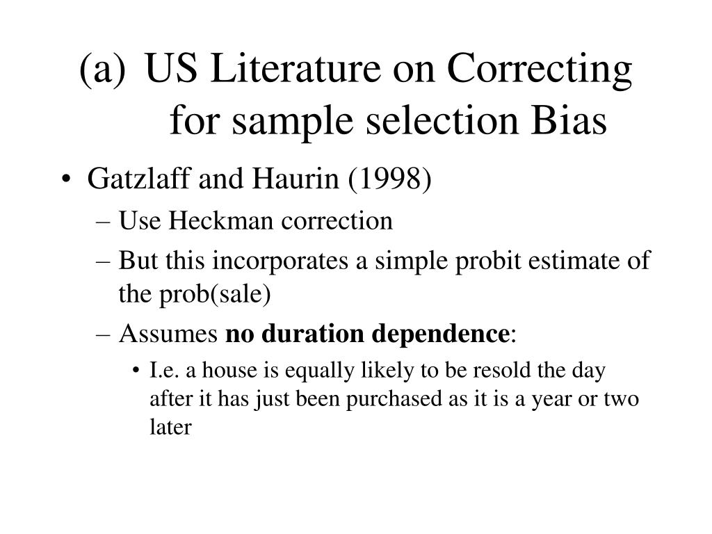 US Literature on Correcting for sample selection Bias