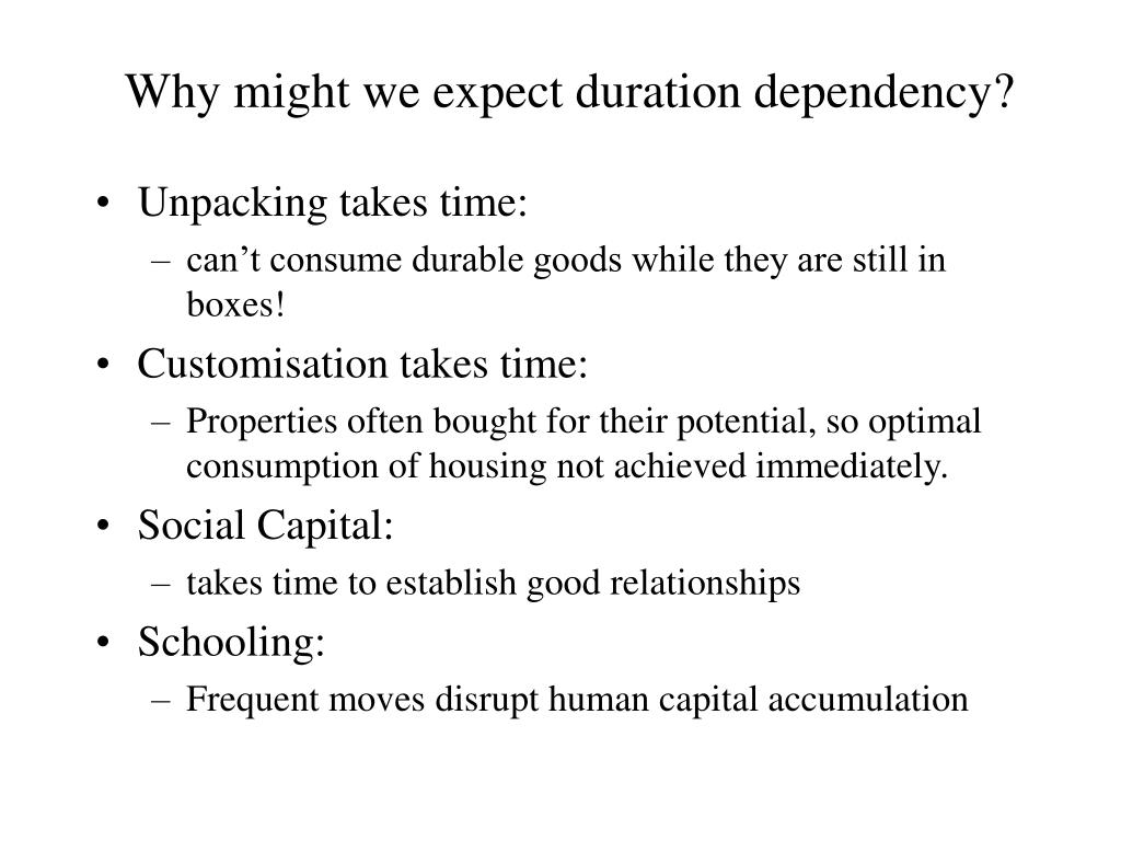 Why might we expect duration dependency?