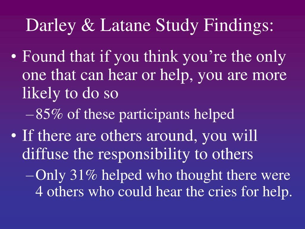 Darley & Latane Study Findings: