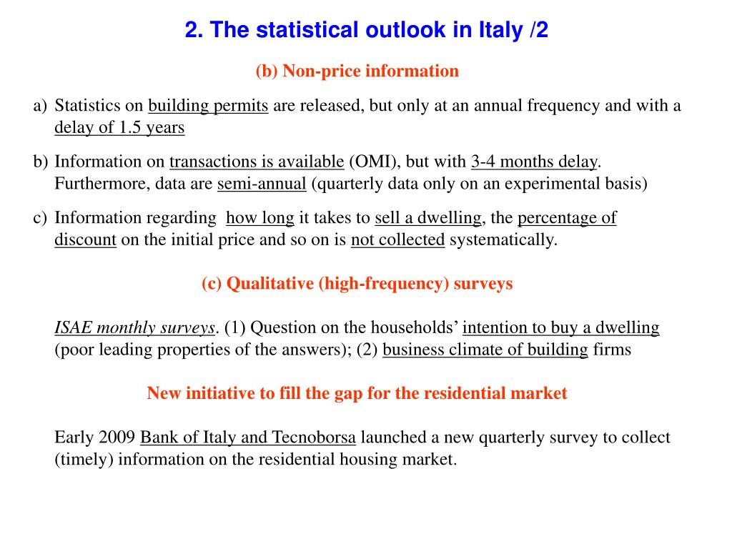2. The statistical outlook in Italy /2