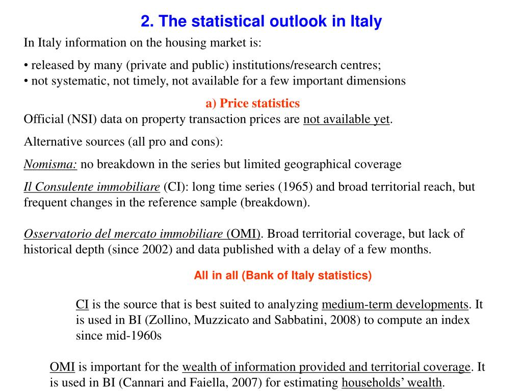 2. The statistical outlook in Italy