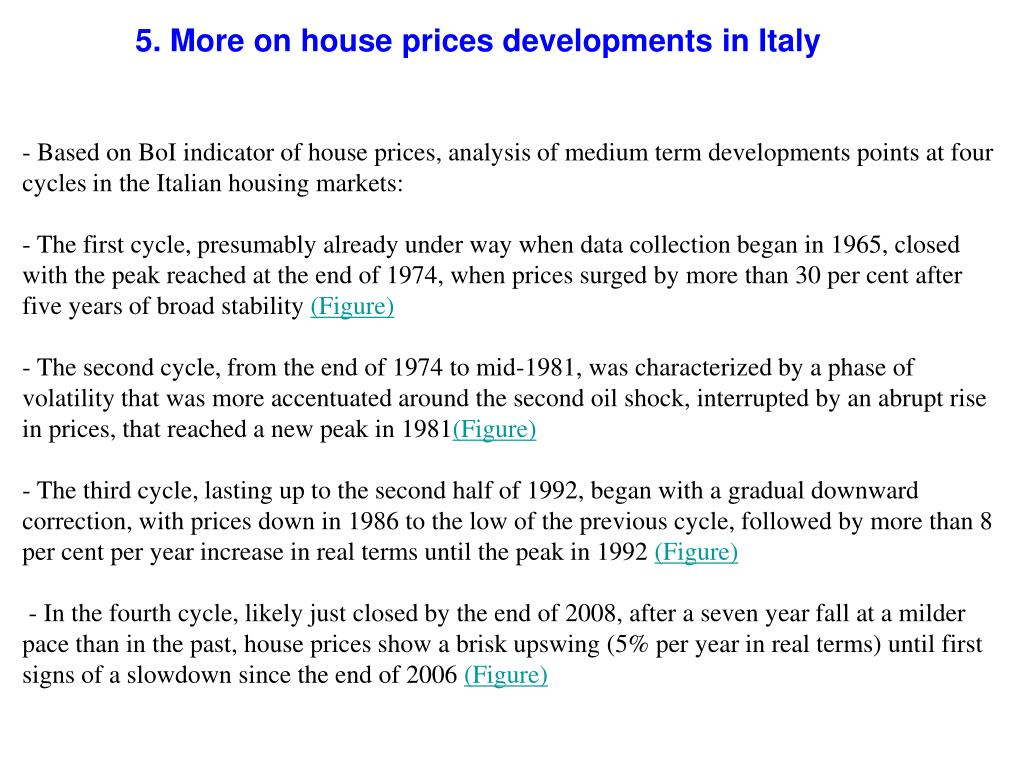 5. More on house prices developments in Italy