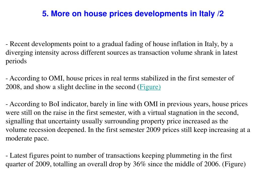 5. More on house prices developments in Italy /2