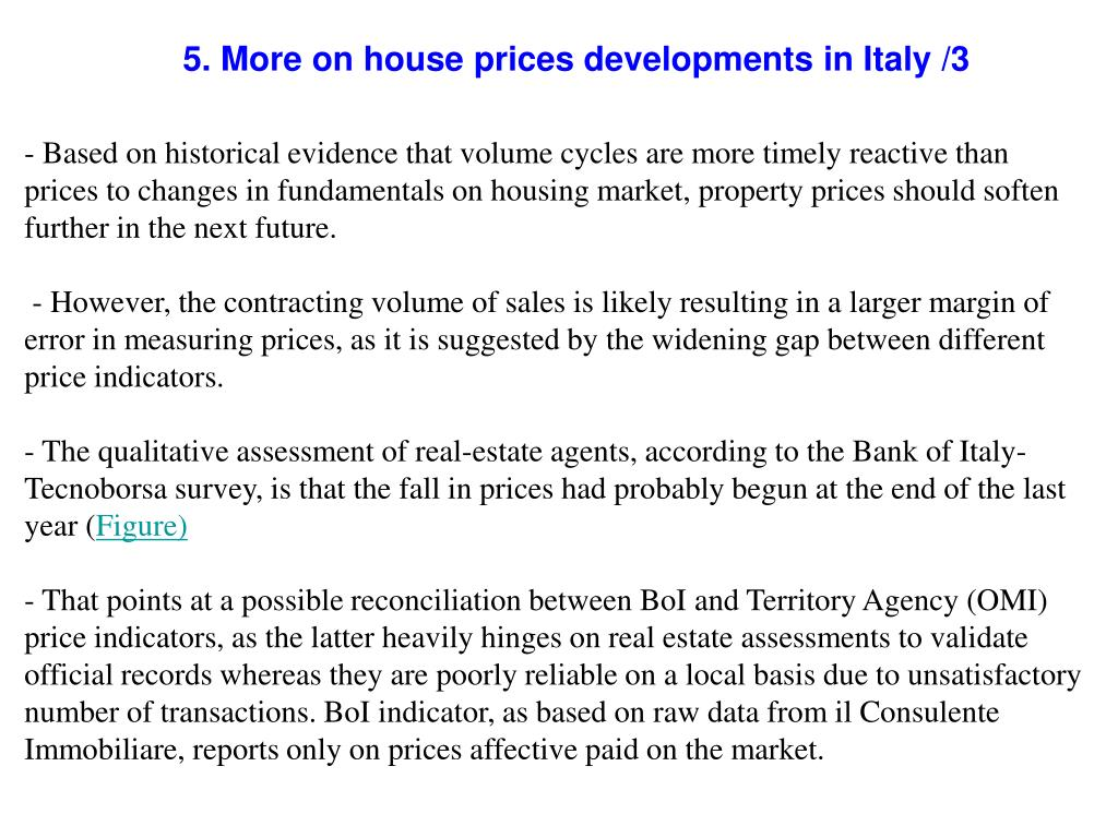 5. More on house prices developments in Italy /3