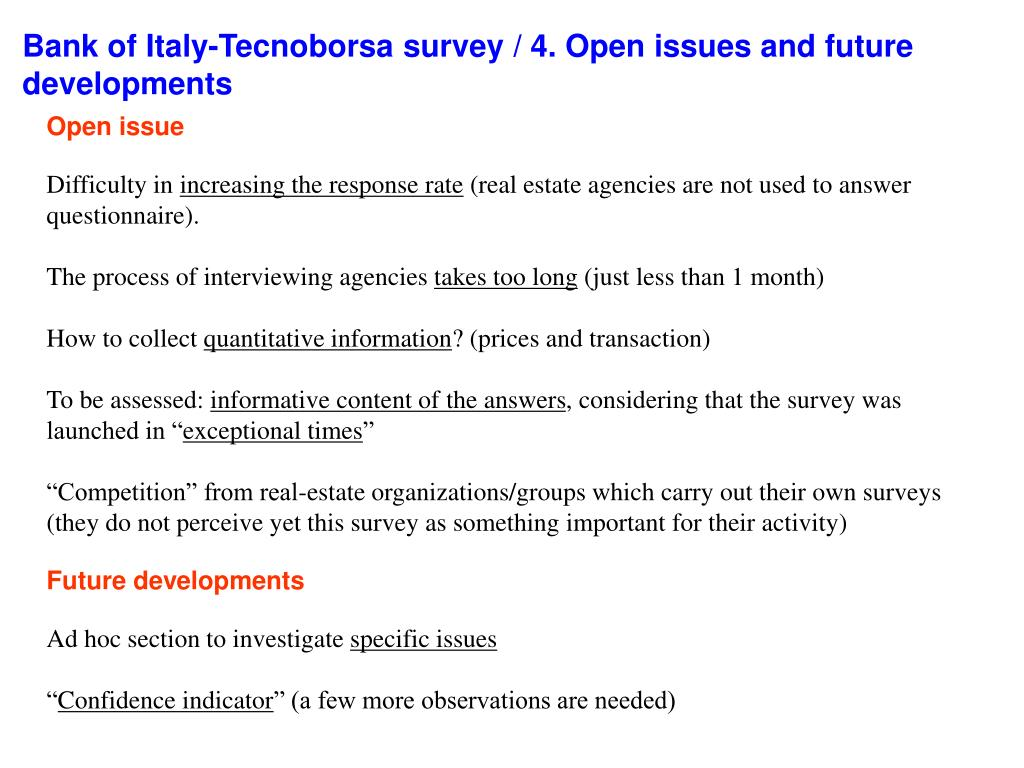 Bank of Italy-Tecnoborsa survey