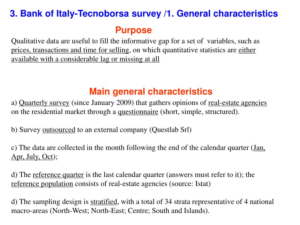 3. Bank of Italy-Tecnoborsa survey /1. General characteristics