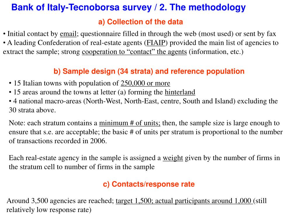 Bank of Italy-Tecnoborsa survey / 2. The methodology