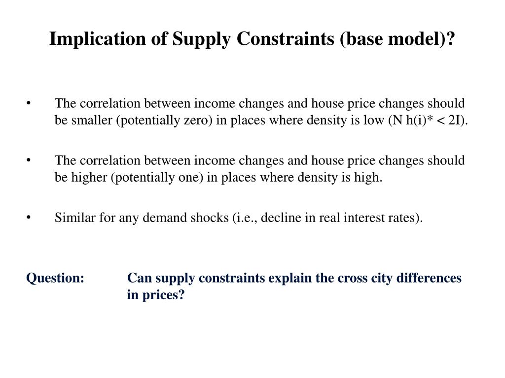 Implication of Supply Constraints (base model)?