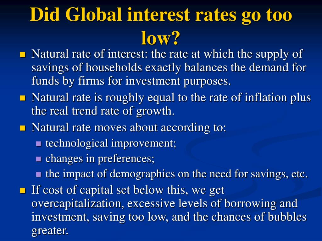 Did Global interest rates go too low?