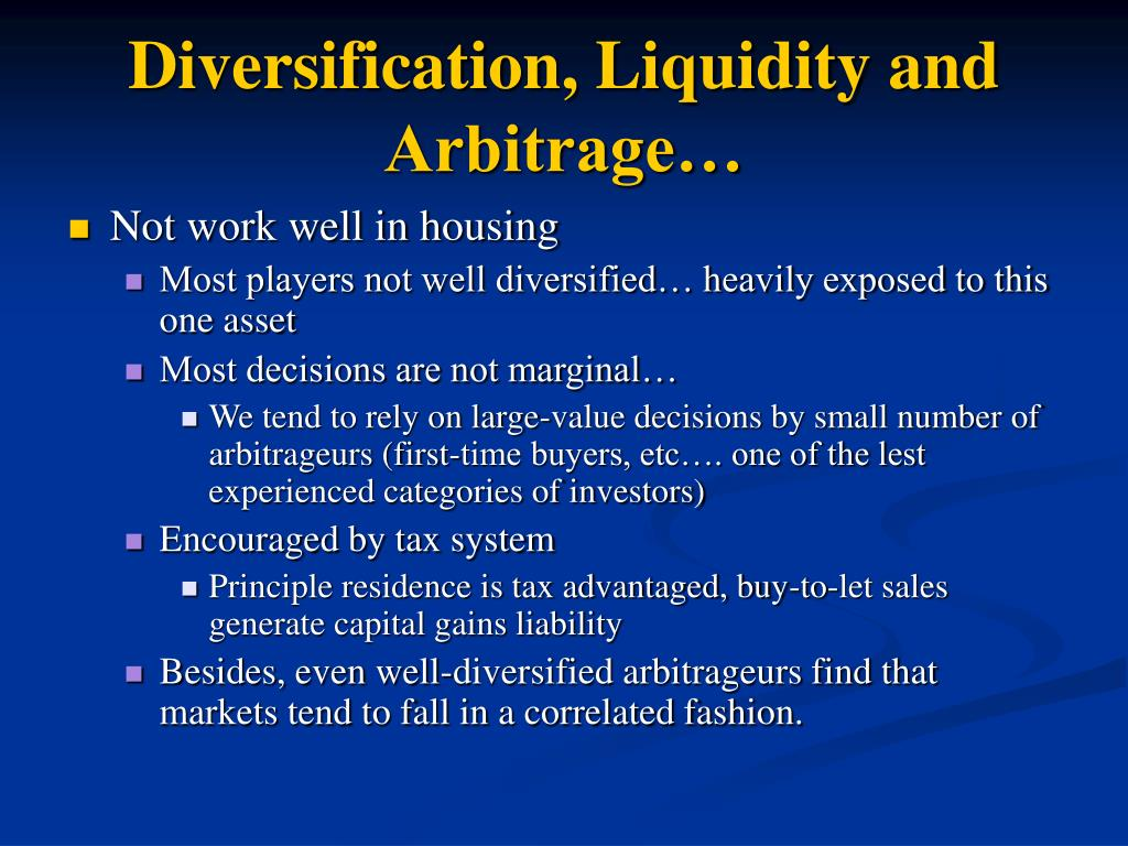Diversification, Liquidity and Arbitrage…