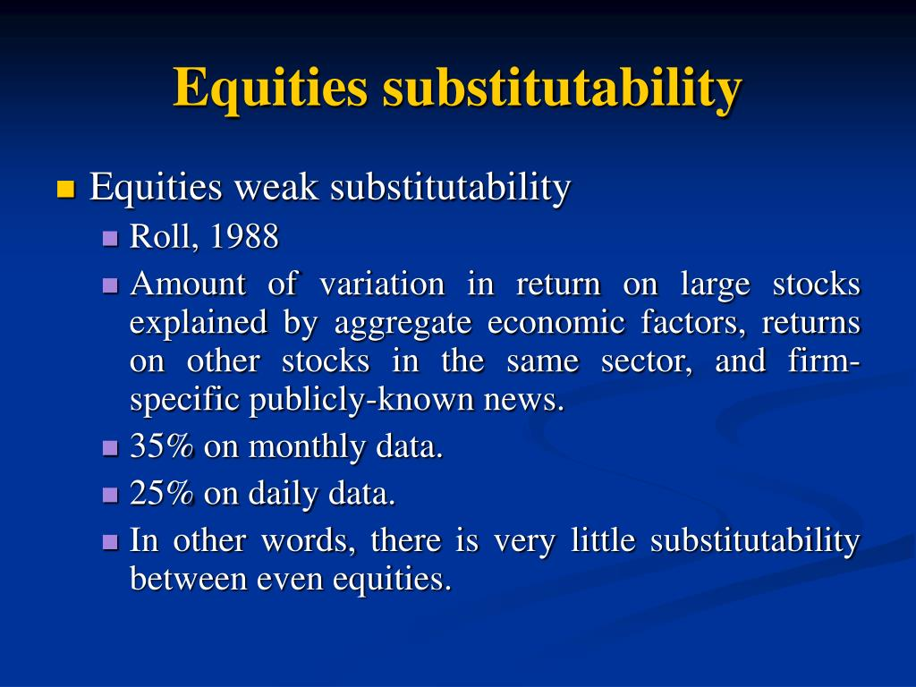 Equities substitutability