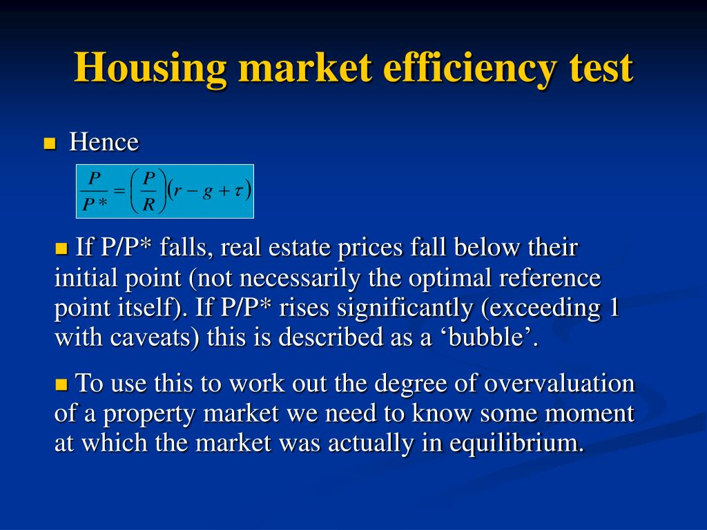 Housing market efficiency test