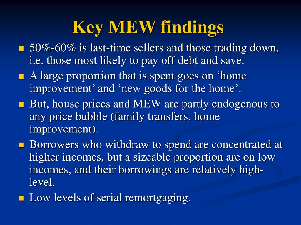 Key MEW findings