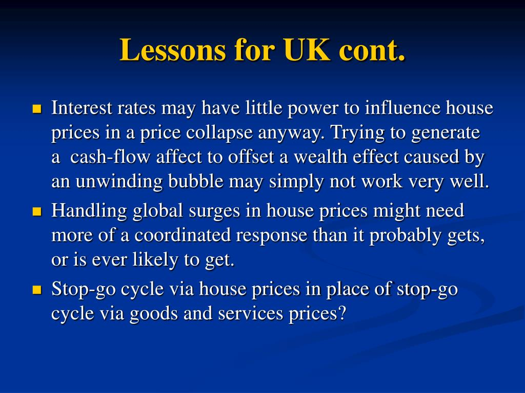 Lessons for UK cont.