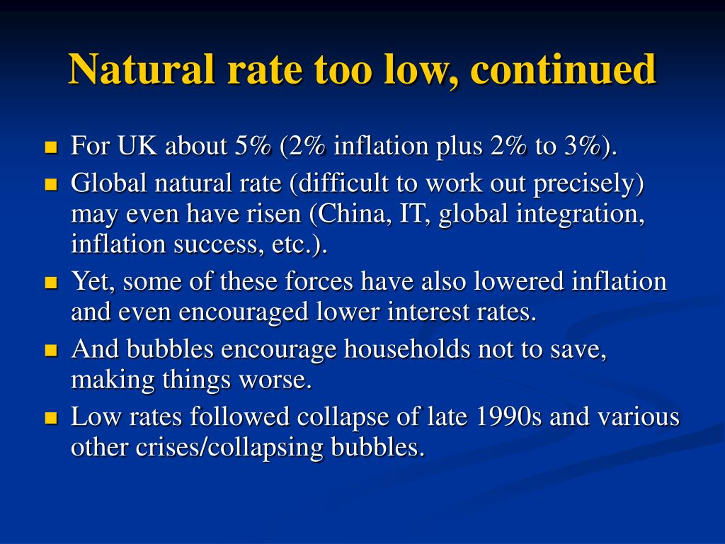 Natural rate too low, continued