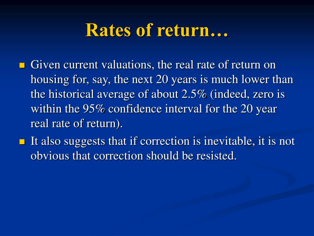 Rates of return…