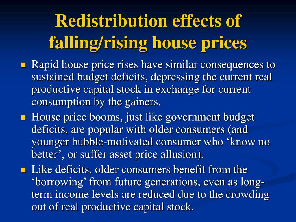 Redistribution effects of falling/rising house prices