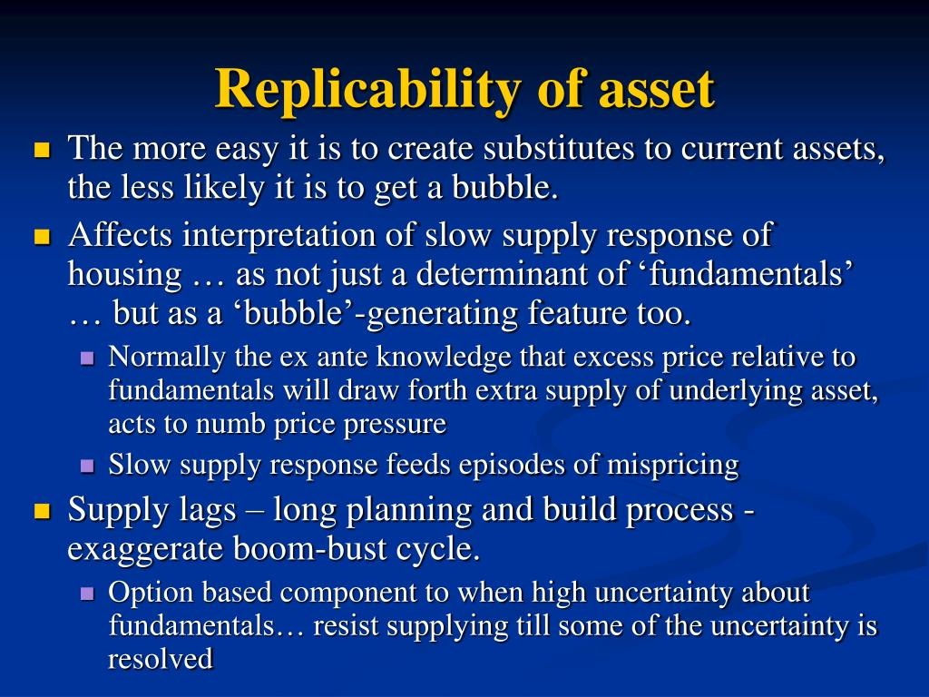Replicability of asset