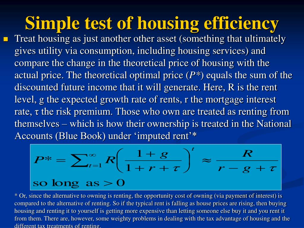 Simple test of housing efficiency