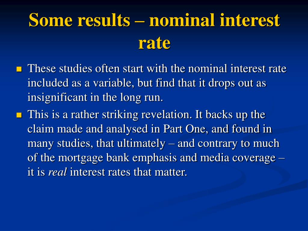 Some results – nominal interest rate