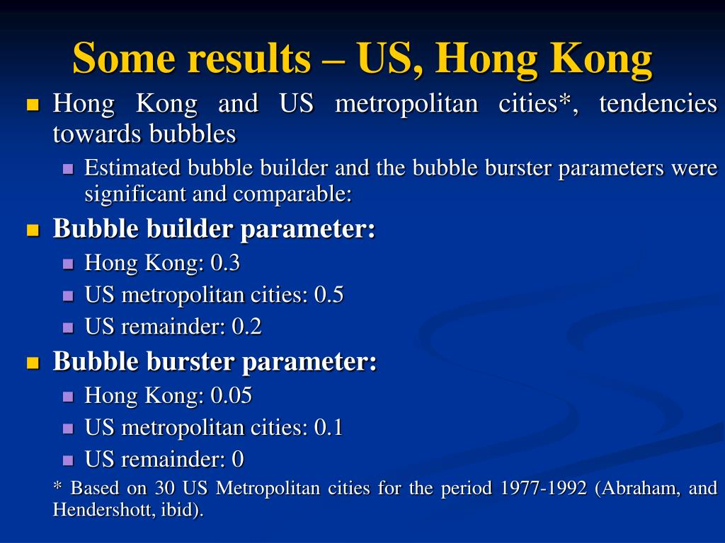 Some results – US, Hong Kong