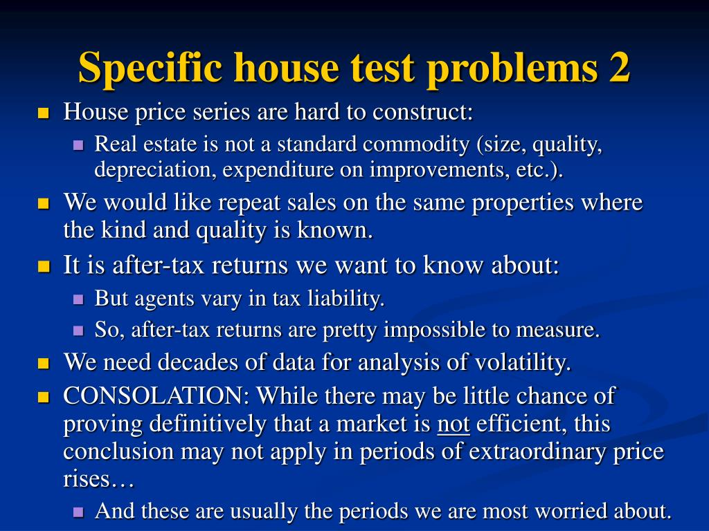 Specific house test problems 2