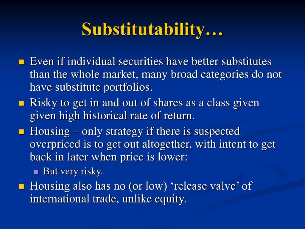 Substitutability…