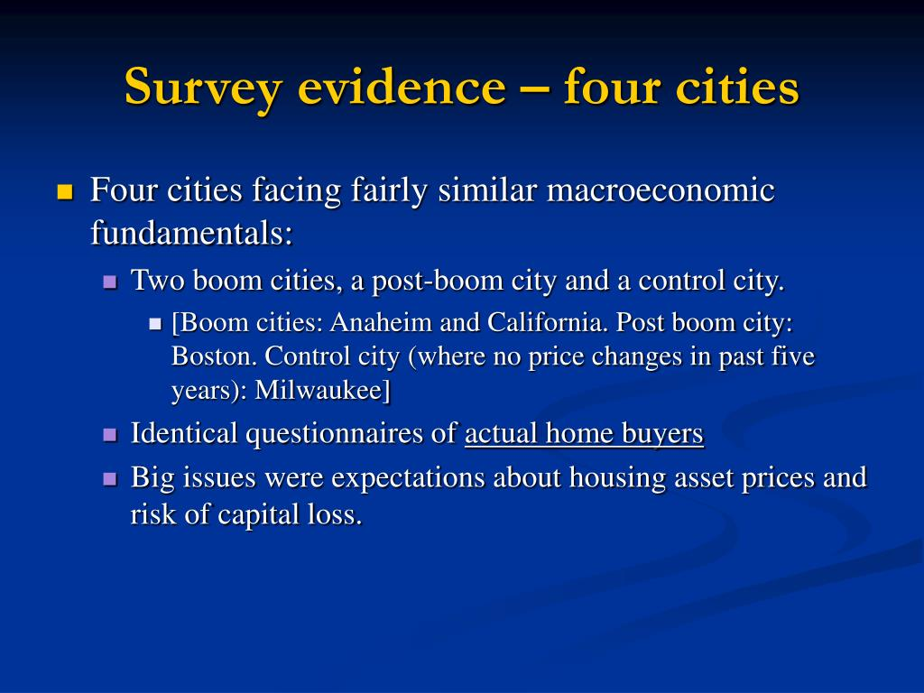 Survey evidence – four cities