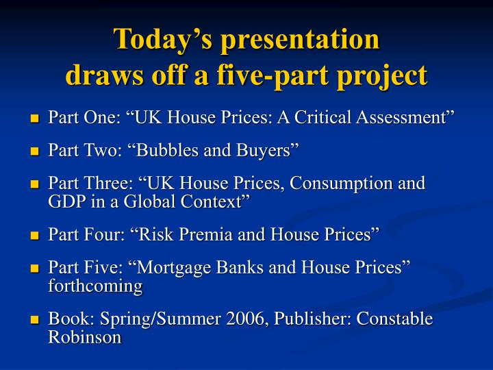 Today s presentation draws off a five part project