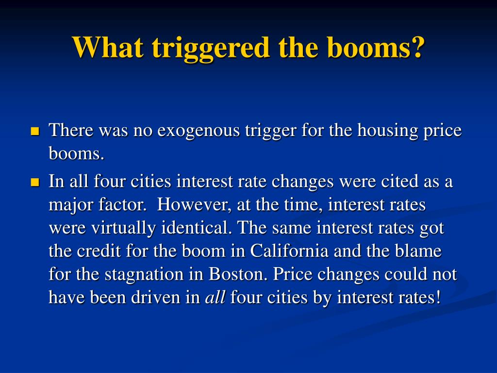 What triggered the booms?
