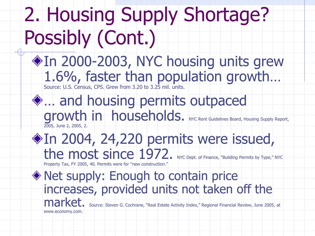 2. Housing Supply Shortage? Possibly (Cont.)