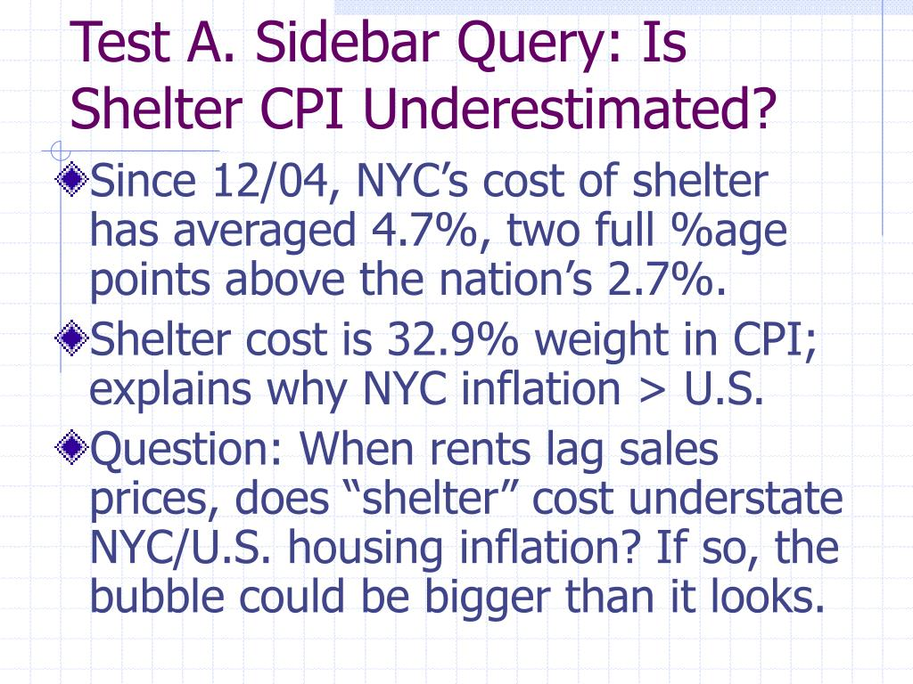 Test A. Sidebar Query: Is Shelter CPI Underestimated?