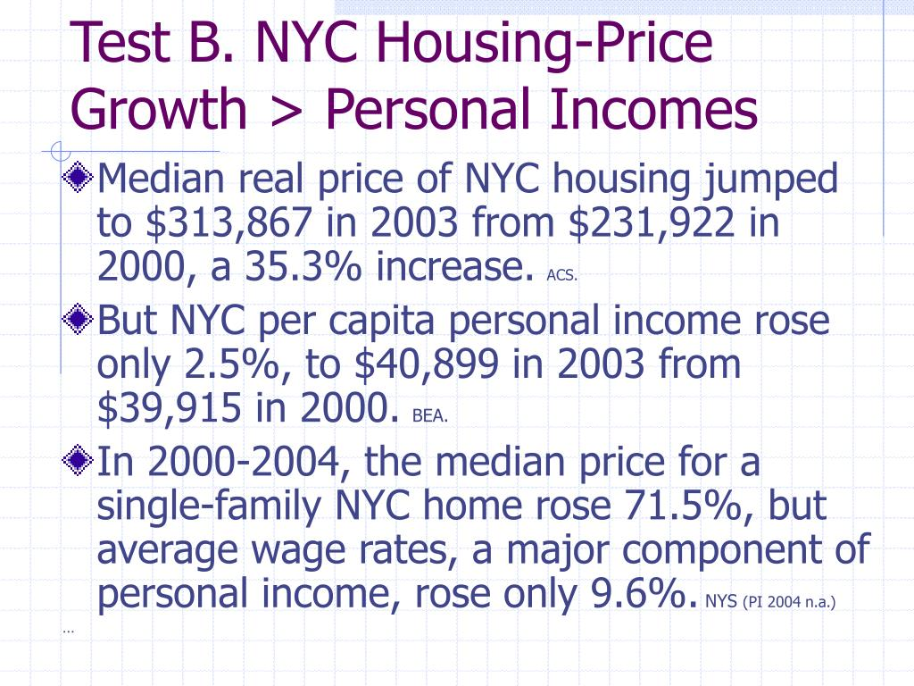 Test B. NYC Housing-Price Growth > Personal Incomes