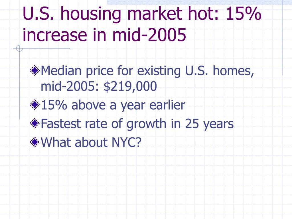 U.S. housing market hot: 15% increase in mid-2005
