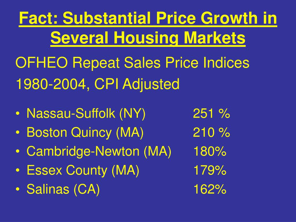 Fact: Substantial Price Growth in Several Housing Markets