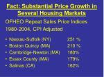 fact substantial price growth in several housing markets