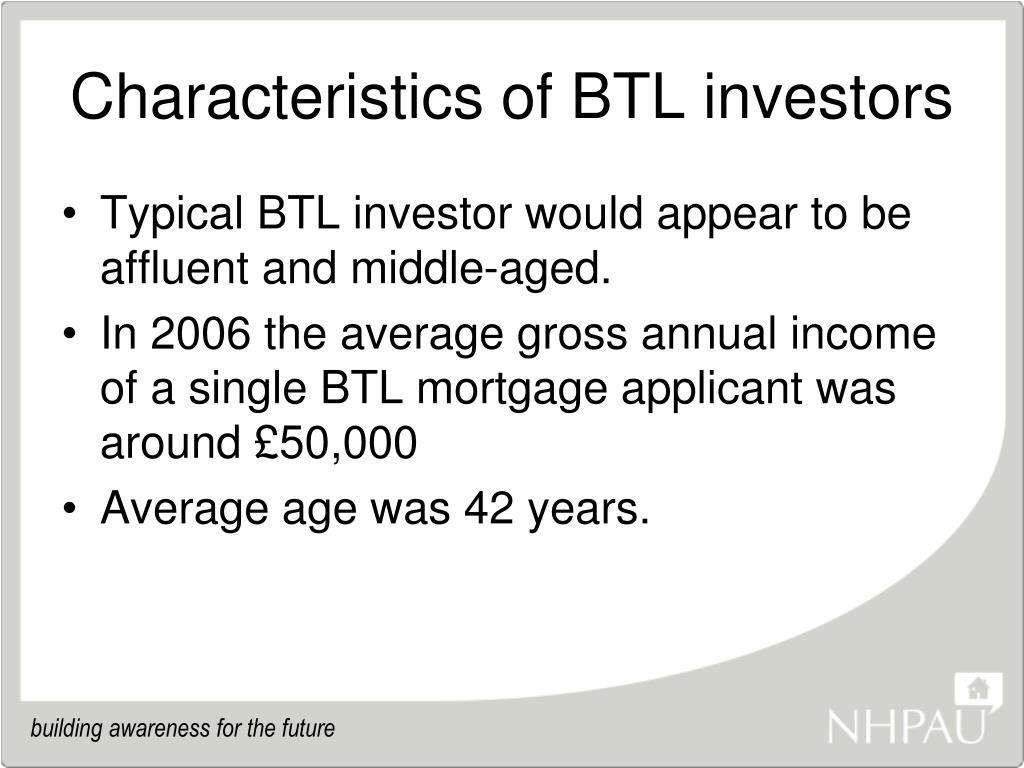 Characteristics of BTL investors
