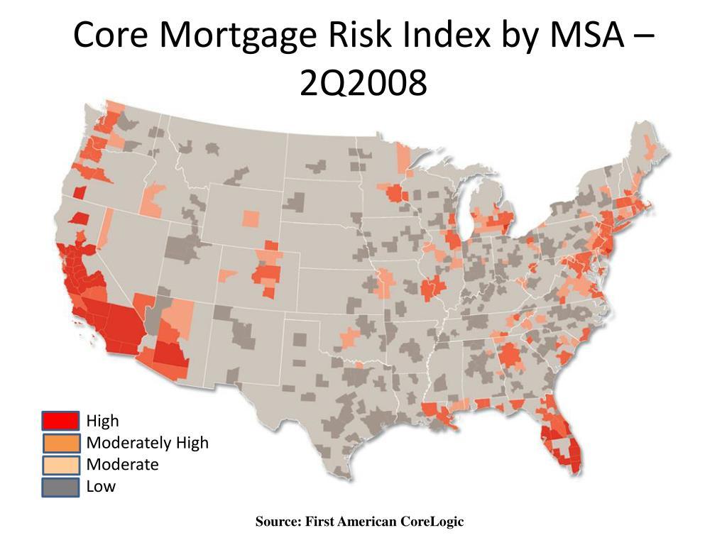 Core Mortgage Risk Index by MSA – 2Q2008